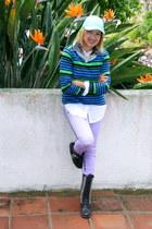 periwinkle Forever 21 jeans - black Steve Madden boots
