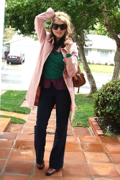 pink trench coat Newport News coat - brown slouchy leather Via Spiga boots