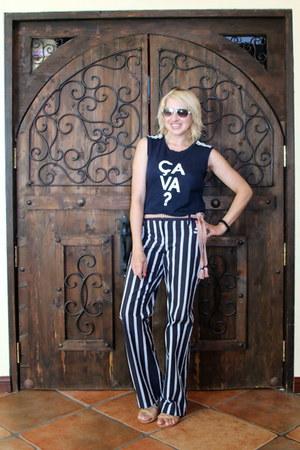 white aviator Betsey Johnson sunglasses - blue flared striped Express pants
