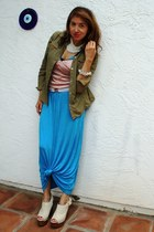olive green Eddie Bauer jacket - light blue stretch Betsey Johnson belt - blue F
