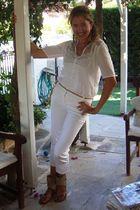 white Koton top - white closet top - white D&G pants - beige belt - beige Victor