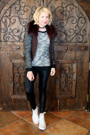 black tweed Forever 21 sweater - black faux leather Macys leggings