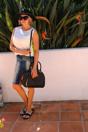 black fedora Forever 21 hat - black DKNY purse