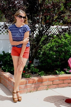 ruby red Forever 21 shorts - brown wood platform Forever 21 heels - navy Forever
