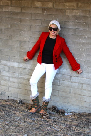 white white denim Zara jeans - forest green snow boots Target boots