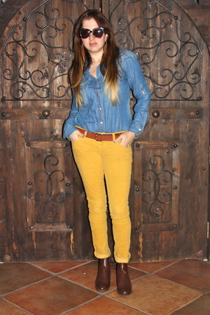 brown Forever 21 boots - blue Forever 21 shirt