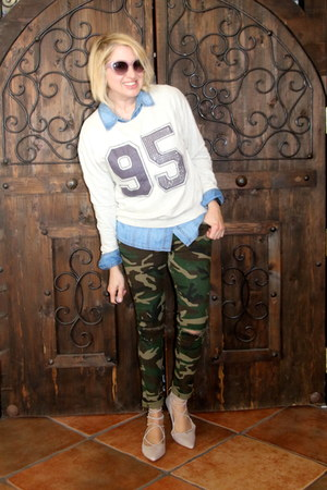 army green camo Forever 21 pants - sky blue from Turkey shirt