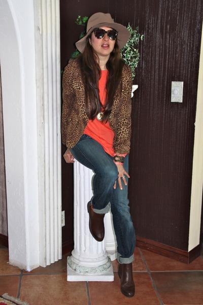camel fedora asos hat - dark brown Forever 21 boots