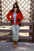 red peacoat Forever 21 coat - forest green snow boots Target boots