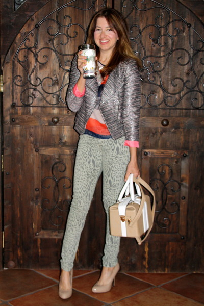 gray tweed metallic H&M jacket - heather gray Forever 21 jeans
