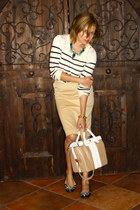 tan structured bag Shoedazzle purse - white striped Forever 21 sweater