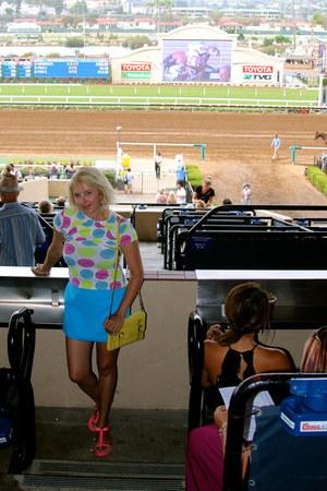 light yellow kate spade purse - sky blue skort JCrew skirt