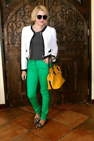 white boucle Forever 21 jacket - navy Jcrew shoes - green asos jeans