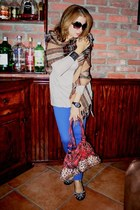 colored skinny Forever 21 jeans - Forever 21 scarf - purse - Forever 21 top