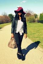magenta H&M hat - black Forever 21 leggings