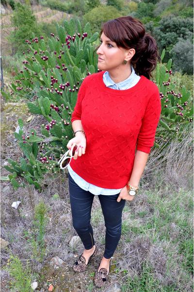 sweater Mango jumper - denim shirt Stradivarius shirt - Zara pants
