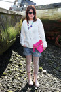 Cream-miss-selfridge-sweater-pink-primark-bag-denim-h-m-shorts
