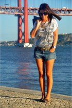 denim Zara jacket - denim studded Zara shorts - sequined Koton top