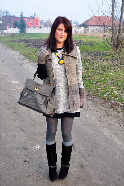 YSL bag - asos boots - Zara dress