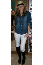 white Wet Seal jeans - blue Wet Seal shirt - black Berlington Coat Factory boots