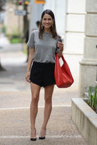 black Zara shorts - heather gray H&M t-shirt