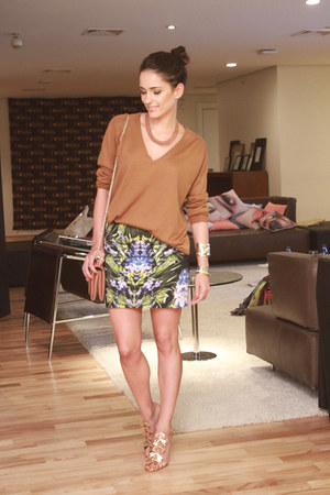 bronze H&M sweater - printed Alexander McQueen skirt