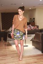 bronze H&M sweater - printed Alexander McQueen skirt