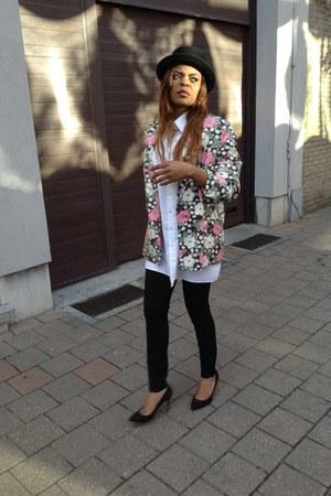 cotton unknown blazer - cotton unknown shirt - polyamid pants - dain Zara heels