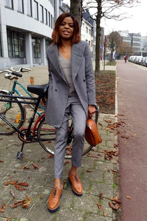 leather shoes - wool Zara coat - angora see by chloé sweater