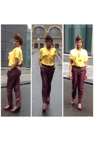 100 polyester vintage blouse - faux leather shoes - vintage pants