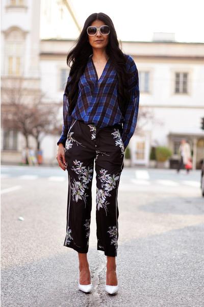 white Mango sunglasses - black kimono Zara pants