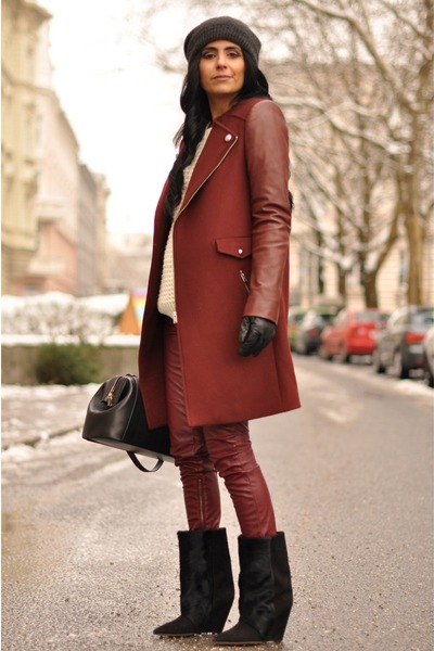maroon biker Zara coat - black lazio Isabel Marant boots - black H&M hat