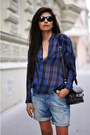 Black-cut-out-buckle-balenciaga-boots-blue-plaid-draped-zara-shirt