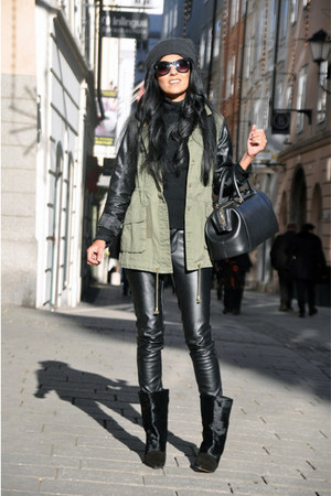 black leather Vero Moda pants - black lazio Isabel Marant boots