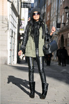 black leather Vero Moda pants - black lazio Isabel Marant boots
