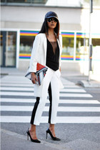 white cocoon Zara coat - carrot orange clutch Zara bag