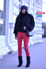 Red-leather-look-h-m-pants-black-lazio-isabel-marant-boots