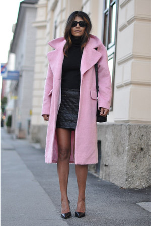 light pink cocoon asos coat - black turtleneck COS sweater