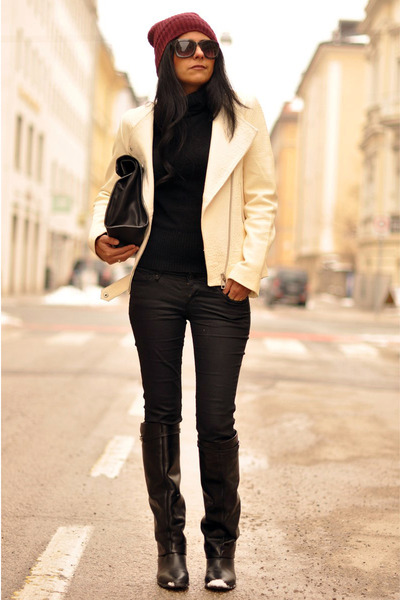knee-high Zara boots - skinny H&M jeans - beanie H&M hat - leather Zara jacket