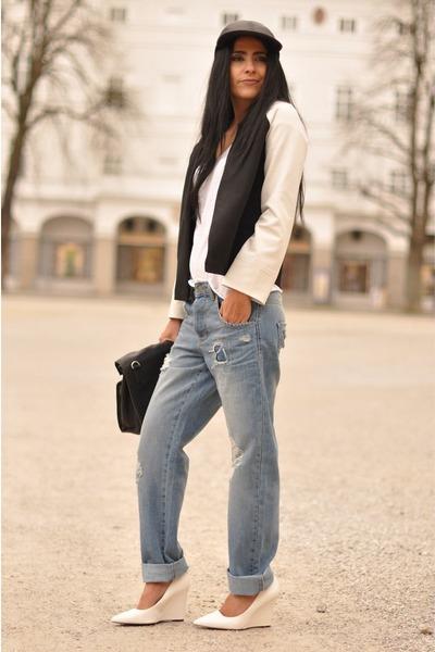 sky blue boyfriend asos jeans - black leather cap asos hat