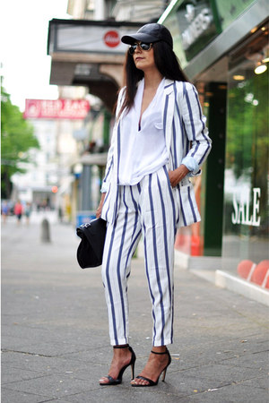 white striped Zara blazer - black cap asos hat - white draped Zara shirt