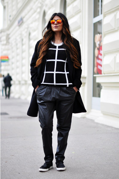 white grid Choies sweater - black oversized Mango coat
