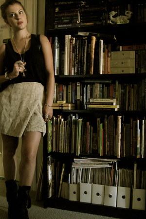 black lace-up booties Balmain boots - black loose tank Gap shirt - black Chanel