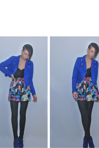 blue H&M jacket - black sonia rykiel pour h&m top - black H&M top - pink River I