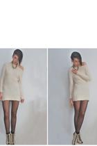 beige Queens Wardrobe dress - silver Own sesign accessories - black H&M tights -