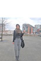 brown H&M scarf - black Berhska jacket - black H&M top - gray Zara pants - black