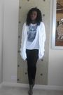 White-thrifted-cardigan-white-vero-moda-t-shirt-black-topshop-leggings-ora