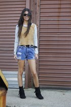 suede H&M sweater - suede Minnetonka boots - denim shorts vintage shorts