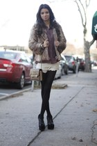 faux fur Lush jacket - faux croc Urban Outfitters bag - crochet vintage shorts
