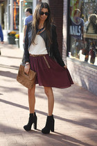 sheer Audrey 31 skirt - suede Dolce Vita boots - leather jacket Beulah jacket